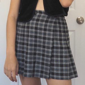 Blue and Grey Plaid Pleated Schoolgirl Skirt
